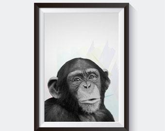 Chimpanze Poster, Chimp, Monkey, Animal, Print, Wall decor, Picture, Wall Art, Art print, Photograph, PrintItOutShop, Digital Download