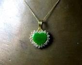 Imperial Jade Diamond Gold Pendant, 20k Fei Cui Jade