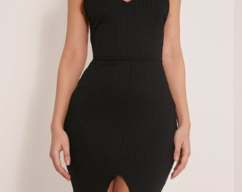 Black Ribbed Cross Back Bodycon Dress