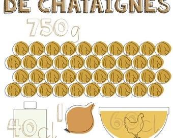 """A3 design poster - Graphic recipe """"Velouté de châtaignes"""""""