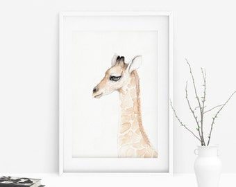 Giraffe watercolor painting - print
