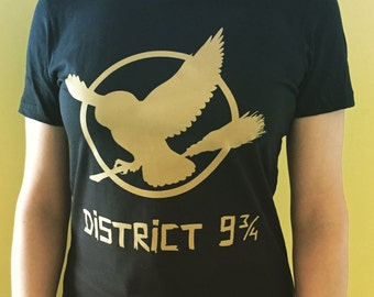 District 9 and 3 Quarters (Inspired by Hunger Games & Harry Potter Fandoms) Women's T-Shirt