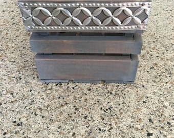Gray Wood Crate with Decorative Metal Banding