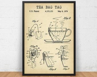 Tea Bag Tag Patent Print, 4 COLORS Printable, Tea Poster, Kitchen Wall Art, Tea Lover Gallery Wall, Vintage Tea Bag, Kitchen Decor Tea Print