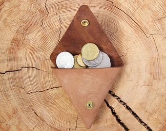 Leather Purse Leather Coin Pouch Leather Coin Purse Triangle Coin Holder Brown Leather Wallet Change Purse Leather Money Purse Leather Pouch
