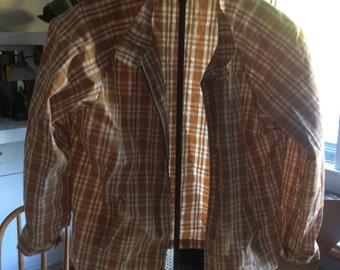 Haymaker medium light cover jacket in deep tan plaid...classic