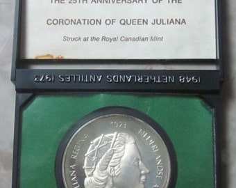 Vintage 1973 Netherlands Antilles Sterling Silver Coin Proof F25 Queen Juliana