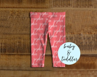 Personalized baby leggings personalized baby gifts personalized baby leggings personalized baby girl gift personalized baby clothes pink baby leggings negle Images