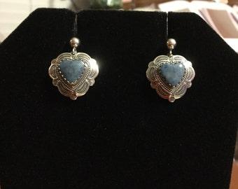 Reserved please do not buy. Silver sodalite heart earrings