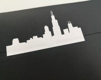20 Chicago skyline stickers, Chicago labels, gold Envelope Seals, adhesive labels, city skyline stickers, illinois wedding stickers