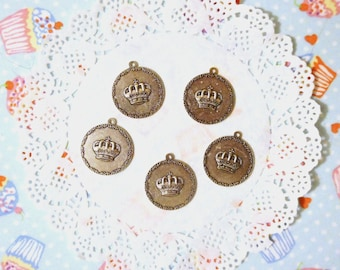 Antiqued Silver Tone Crown Cabochon Settings