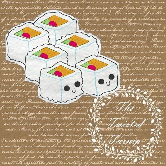Cute Sushi Rolls Face Anime Kawaii Feltie Felt Food Foodie Embroidery Design Designs Instant Download 4x4 Hoop PES SEW HUS exp vip vp3 jef