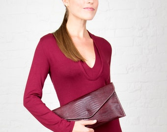 Red Lizard Embossed Leather Clutch and Shoulder Handbag
