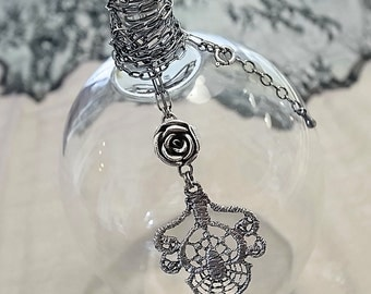 Rose and Lace Oxidized Sterling Silver Necklace Handmade