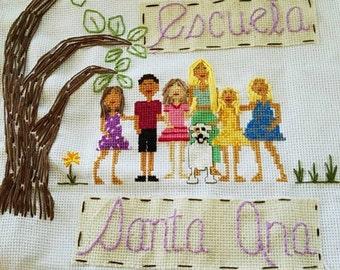 Custom Cross Stitch Family Portrait - Base Price 25 Dollars