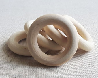 5 pcs 1.3/4 inch Wooden Rings, Unfinished Wooden Rings, Teething Rings, Rings for Toys, 2 Inch Ring, Wooden Craft Rings, Eco Friendly Rings