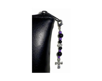 Pretty Purple Black Bead Zipper Pull Sparkly Cross Charm, Purse Embellishment, Bible Case Zipper Pull, Jacket or Bag Bling, Clutch Adornment