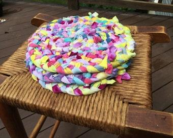 Rag Rug Trivets, Handmade trivets, tie dye trivets, pot holders, house warming gift, boho decor, upcycled, repurposed tshirts