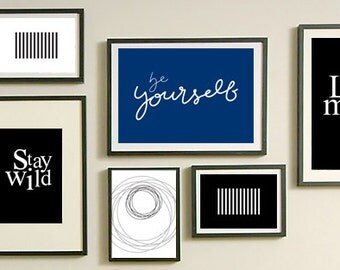 Be Yourself, Quote Art Prints, Printable Wall Art, Navy Word Art, Blue Decor Prints, Inspirational Handlettered Quote, blue and white set,