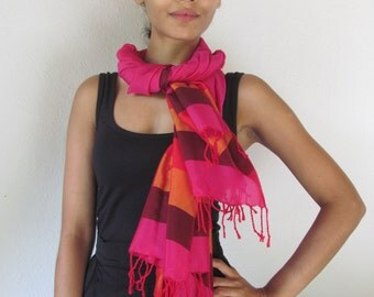 Pink Handloom Shawl with Maroon, Red and Orange Stripes
