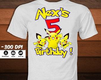 Pokemon Iron on Transfer Shirt-Printable Personalized Birthday Pokemon Pikachu Shirt with Name-Pokemon Pikachu party decor-DIGITAL  IMAGE