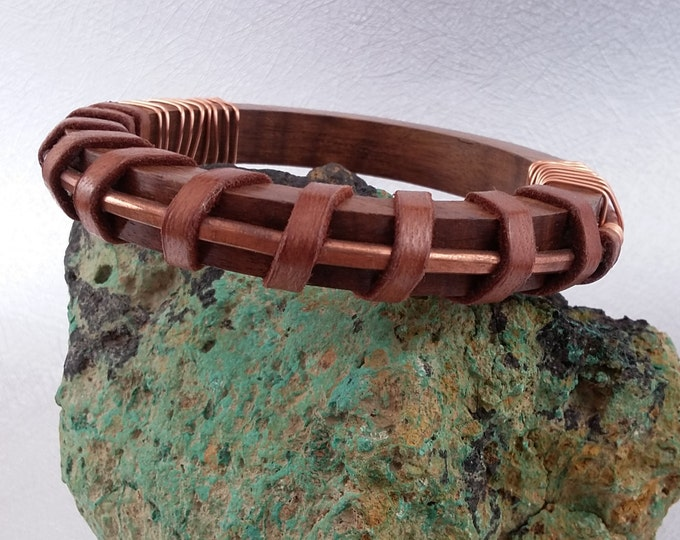 Wood Copper and Leather Modern Southwest style bangle bracelet
