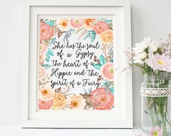 Boho Baby Girl Print- Floral Bohemian Nursery Decor- Little Girls Quote Print- Christmas Gift For Girls- Baby Girl Boho Print- Nursery Art