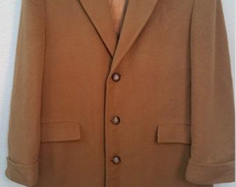 60s Vintage Top Coat 100% Cashmere Tan Overcoat Long Trench Jacket