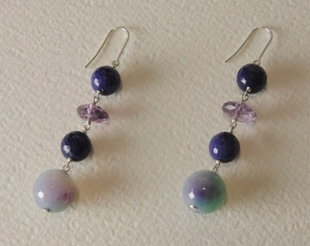 Amethyst earrings, agate and Sterling Silver 925%