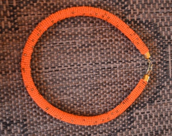 Light Orange African Maasai Rope beaded neckline/necklace, Masai hand made necklace