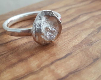 Sterling Silver Lunar Ring with Cubic Zirconia