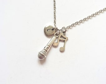 Microphone Necklace, Music Note Necklace, Music Charm Necklace, Music Jewelry, Music Gift, Musical Necklace, Gift For Musician (SM10.11)