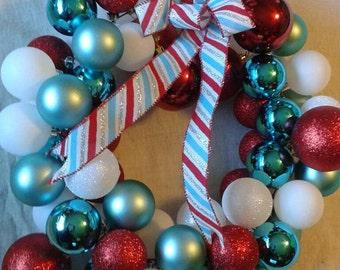 Red, White, Aqua Wreath