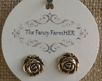 Rose button earrings, gold finish