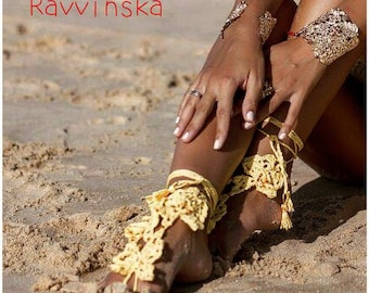 Barefoot Sandals Butterflies Czech Beads Crochet Foot Jewelry Hippie Festival Wear Yoga Beach Boho Anklet Destination wedding shoes
