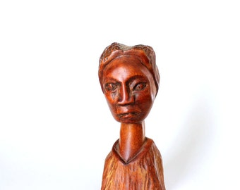 SALE unusual statue of a woman . vintage wood carved figure . vintage outsider folk art . handmade wooden statue, bust of a woman