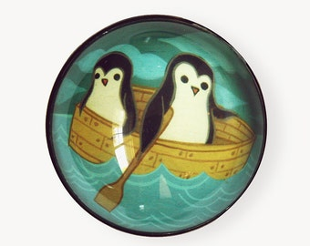Row Boat Magnet, Rowboat Nautical Art Magnet - Penguins Rowing Illustration Magnet, Rowing oar rowing crew
