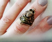 Eye Of Ra -Scarab Midi Ring- Adjustable Knuckle Ring with Egyptian hasa light helio blue glass eye Hand sculpted setting antique gold tone
