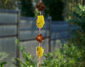 Wind Chime  Sea Glass Copper Windchime Stained Glass Suncatcher