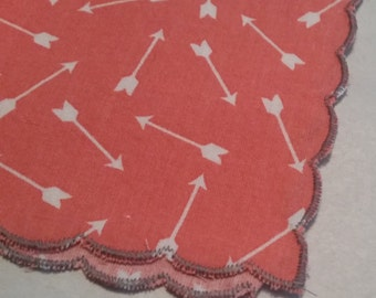 Coral Arrow Print Handmade Ladies Handkerchief Scalloped Edge - Customizable Add an Initial Embroidery Embroidered