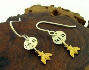 Bee Earrings, sterling silver and brass mixed metal earrings, honey bee jewelry by Kathryn Riechert