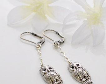 Owl Dangle Earrings Sweet Little Night Owls - Silver Owl Earrings - Owl Jewelry