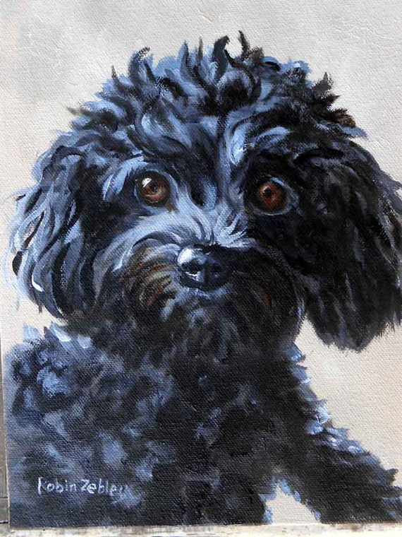 """Small Pet Portrait, Poodle or any breed, 5"""" x 7"""""""
