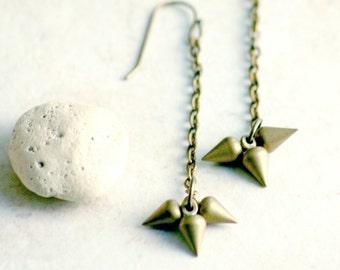 Triple Drop Earrings Golden Antiqued Matte Brass Drop Vintage Pointy Arrow Tip Pendulum Dangle Cluster Valentines Gift For Women
