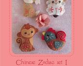 Mini Chinese Zodiac plush Set 1 PDF sewing pattern felt animal patterns ornaments