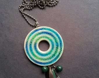 """Ocean Colors Recycled Glass and Stoneware Clay 30"""" Long Necklace"""