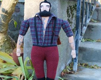Burly Lumberjack tattooed man doll plush