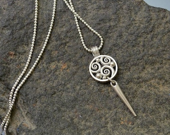 Sterling silver swirls drop pendant necklace spike drop circle sterling silver bead chain