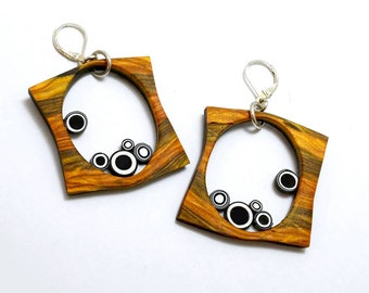 polymer dangle sterling leaver wire earrings faux wood black white bulls eye circles squared hoops modern fun light weight