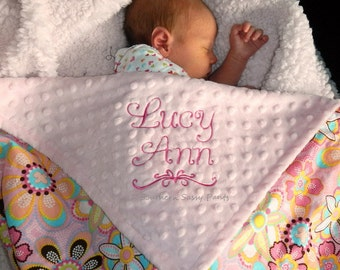 Personalized Baby Blanket , Baby Girl Blanket - Flower Crystals and Minky  , LIMITED but still available